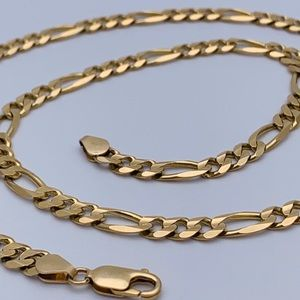 """Jewelry - 14kt Solid YG Figaro Chain 21"""" 27.5g marked Italy"""